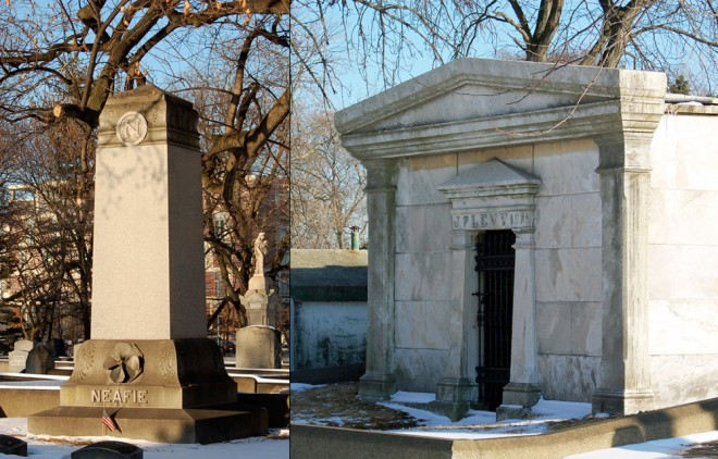 At Woodlands Cemetery: Neafie Monument (left)—note the propeller screw, a biographical emblem; Levy Mausoleum (right). | Photos: Aaron Wunsch