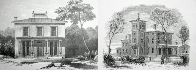 "Left: ""A Plain Villa,"" Samuel Sloan, The Model Architect, 1852; Right: ""A Suburban Villa – No. 2,"" Samuel Sloan, Sloan's Homestead Architecture, 1861 