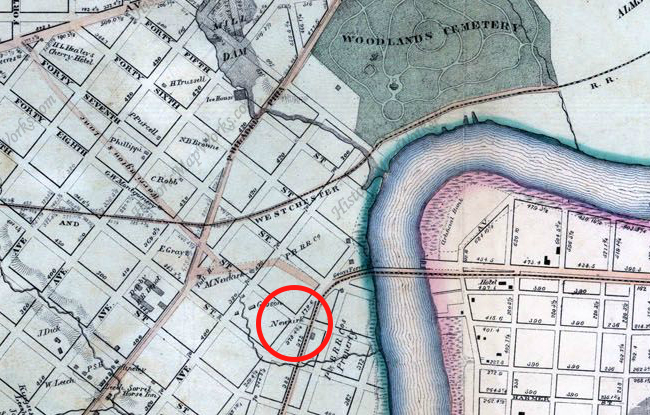 "1863: Smedley's Philadelphia Atlas. Red circle: ""Newkirk."" Only the tan roads existed at that point; the rest were merely planned."