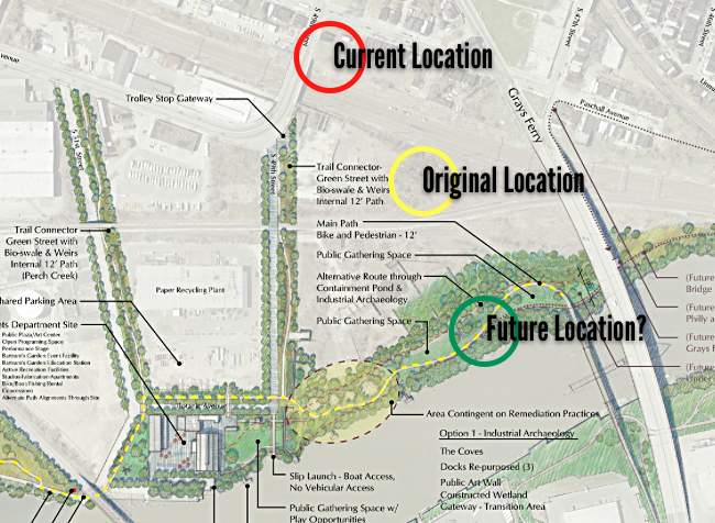 Today: Current, original, and potential locations for the 1839 Newkirk Viaduct Monument.