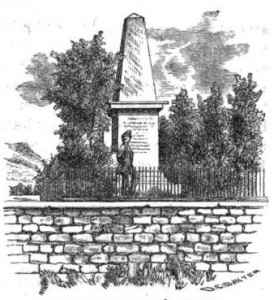 An 1856 drawing of the Newkirk Viaduct Monument, published in  Philadelphia, Wilmington and Baltimore Railroad Guide