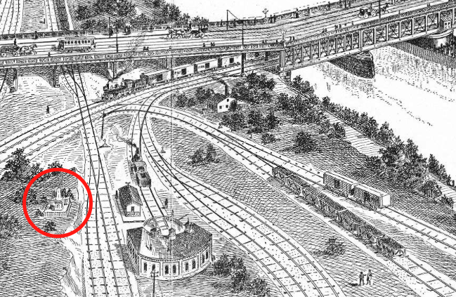 1894: Sketch by Philadelphia Dept. of Public Works shows proposed bridge at Gray's Ferry. Red circle: the Newkirk Viaduct Monument.