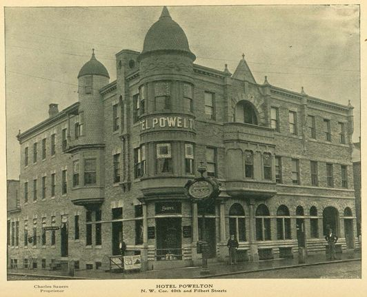 Hotel Powelton, 40th and Filbert | Source: The Official Office Building Directory and Architectural Handbook of Philadelphia, The Commercial Publishing and Directory Co., Philadelphia, 1899, p. 436 courtesy of the Athenaeum of Philadelphia