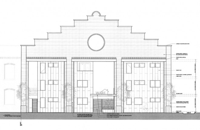Slight redo: plans for the front of 1221 Mount Vernon | Image: Harman Deutsch Architecture