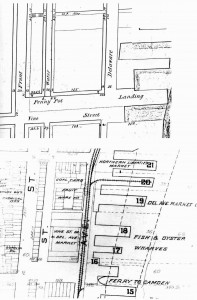 These images of the foot of Vine Street appear in An Examination of Philadelphia's Early Waterfront Through the Archeology of the Hertz Lot, by Carmen A. Weber, edited and compiled by Rebecca Yamin, John Milner Associates, Inc. (2006). The top is a detail of the Plan of Delaware Avenue from Vine Street to Cohocksink Creek in the District of the Northern Liberties, 1850. The bottom is a detail of the Baist Altas, 1895.