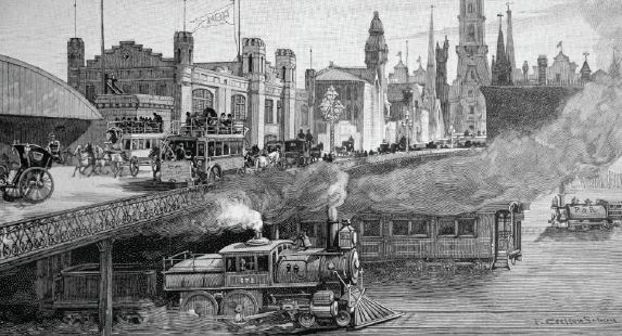 The Broad Street Bridge, 1891 | Drawing: Frank Cresson Schell, Harper's Weekly, January 1891