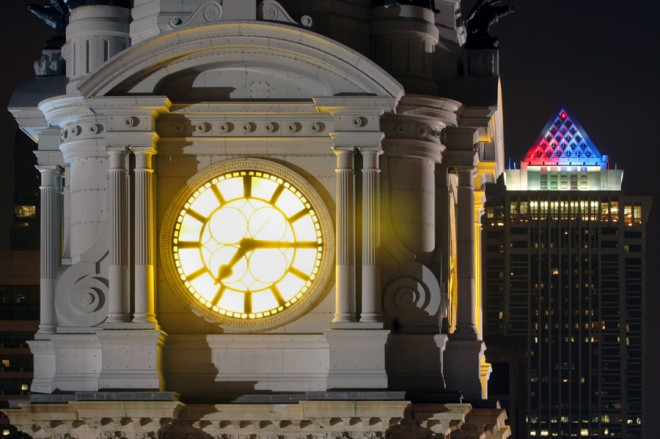 City Hall clock's amber glow | Photo: Bradley Maule