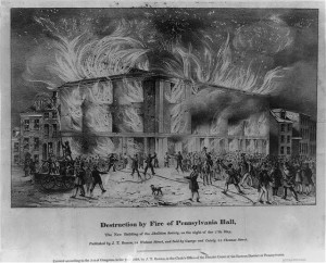 Destruction of Fire by Pennsylvania Hall, published by J.T. Bowen | Image courtesy of Library of Congress