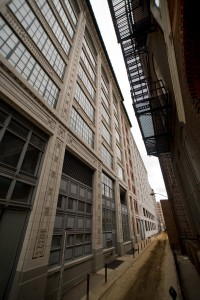 Pearl Street sneaks between the Packard Building and Roman Catholic High on its way to North Broad Street | Photo: Bradley Maule