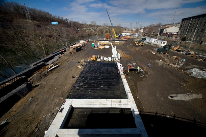 Manayunk Mud: lower Venice Island's construction progress midstream | Photo: Bradley Maule