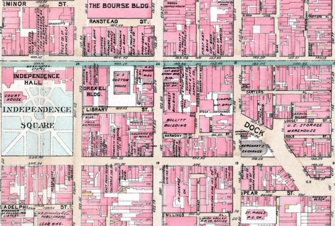 G .W. Bromley & Company map detailing the area around Independence Hall; note Bromley's office on South 5th Street just below Independence Square