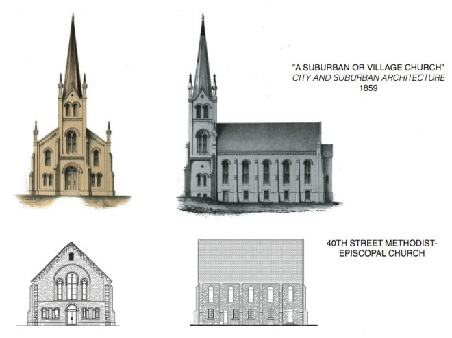 Church profile: Sloan's original plan alongside the extant church | Image courtesy of Bates/Embry/Hasenfus/Iyer/Morgan/Yin