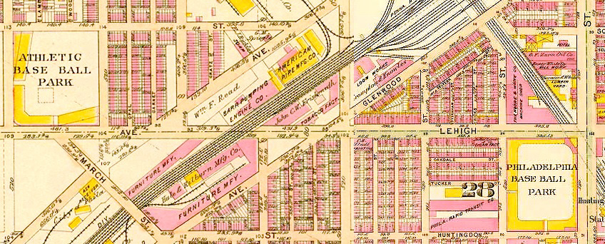 Baseball Alley. Shibe Park and the Baker Bowl five blocks apart on Lehigh Avenue. 1910 Bromley Map.