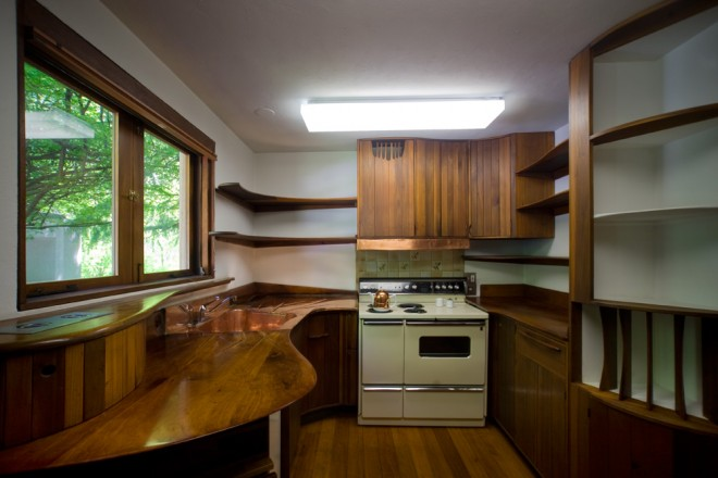 Kitchen by Wharton Esherick for his niece Margaret, original owner of the Kahn-designed home | Photo: Bradley Maule