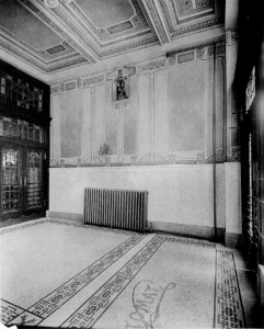 "Undated photo of original Horn & Hardart interior (note ""Automat"" floor mosaic) 