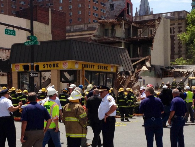 Police chief Charles Ramsey and fire commissioner Lloyd Ayers on the scene of the building collapse | Photo: Bradley Maule
