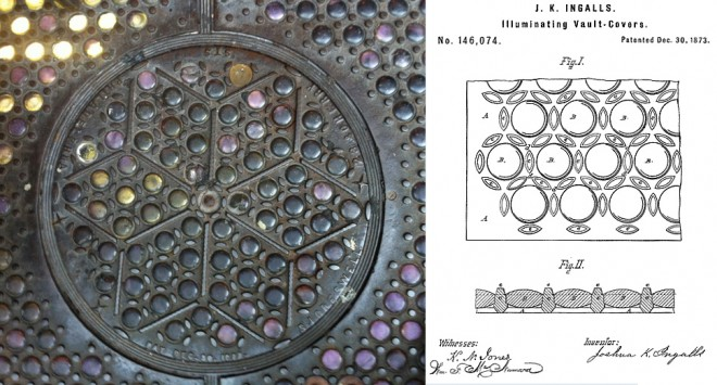 "Outside at Barra: S.J. Creswell vault light | Photo: Sam Robinson (left); Patent for ""Illuminating Vault Covers"" by J.K. Ingalls (right)"