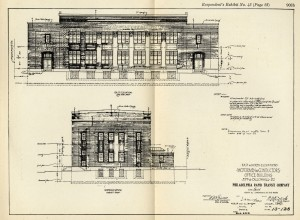 Philadelphia Rapid Transit Co. Callowhill Depot Motormen & Conductors Office Building elevations, drafted 1913. From 1920 PRT report.