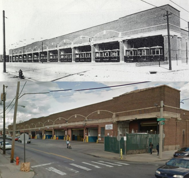 Two views of Callowhill Depot. Top view 1913, bottom view 2012. Photos from PRT report and from Google Maps, respectively.