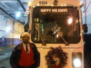 Callowhill Depot's Gary Mason with his Holiday Trolley