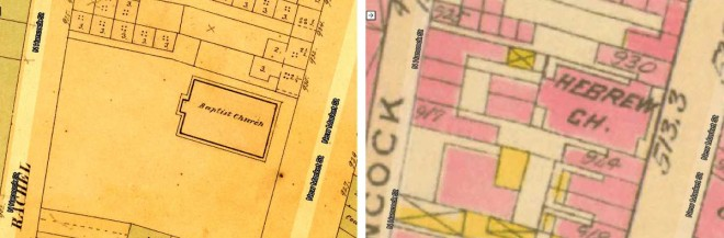 Left: 1858-1860 Philadelphia Atlas (Hexamer & Locher); Right: 1910 Philadelphia Atlas (Bromley)