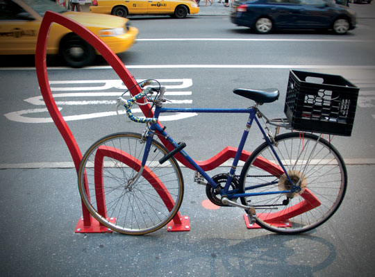 "David Byrne's (of The Talking Heads) ""The Ladies Mile,"" a bicycle rack design in Manhattan"