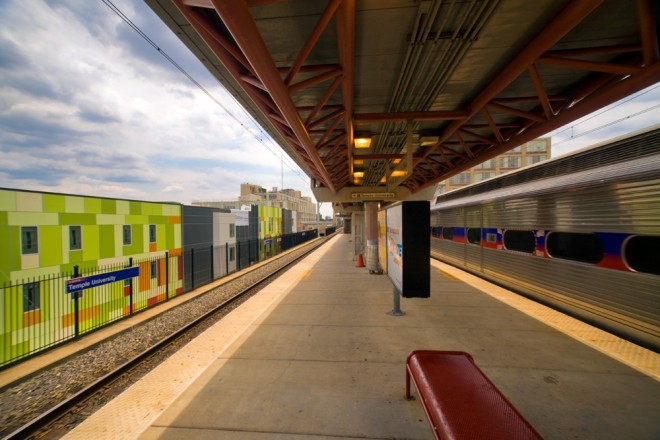 Paseo Verde, to the left of the Temple University regional rail station, is a Transit Oriented Development made possible by a federal Community Development Block Grant | Photo: Bradley Maule