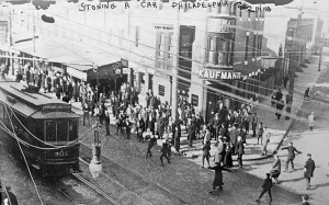 Rocks thrown at Philadelphia Rapid Transit Co. trolley during strike, February 21, 1910. Library of Congress photo