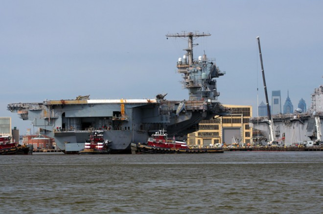March 2008: the USS JFK arrives at the Navy Yard | Photo: Bradley Maule