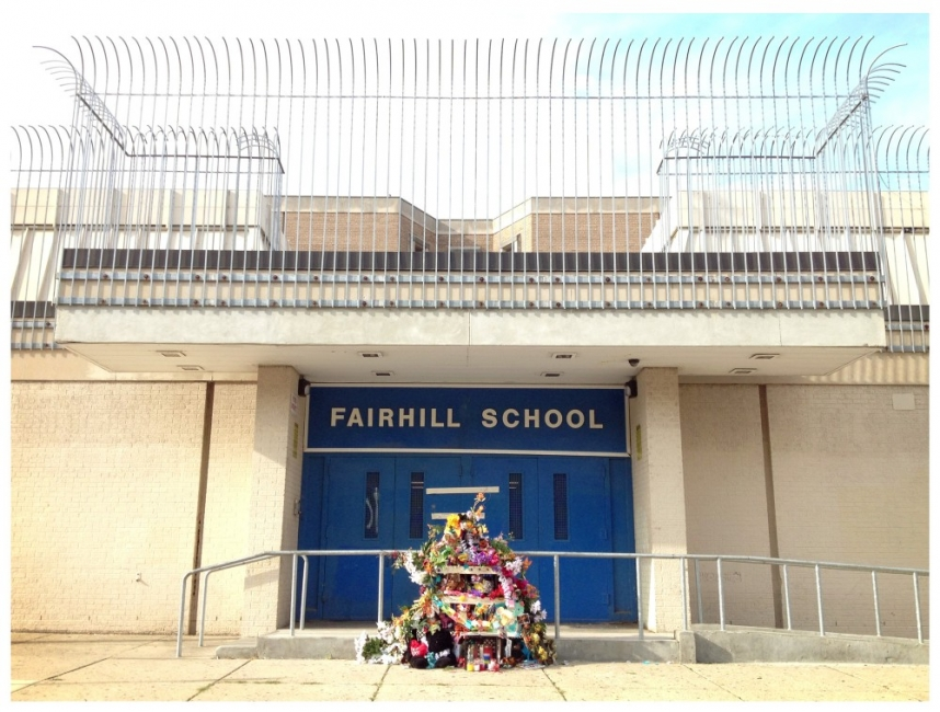 Students' shrine to their former school | photo: Tim Gibbon, for Next City