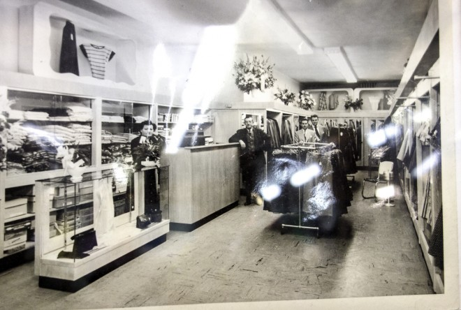 Vintage men's shop interior owned by the Schaffs on North Fifth Street | Photo courtesy of Jerry's Fashions