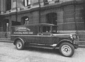 The municipal music car, the traveling musical vehicle of the Municipal Bureau of Music of Philadelphia.