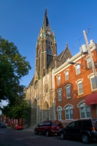 """With shingles and entire sections missing, St. Bonaventure's steeple is """"imminently dangerous""""   Photo: Bradley Maule"""