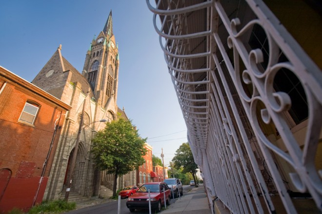 Soon to tower no more: St. Bonaventure's steeple on North 9th Street | Photo: Bradley Maule