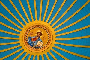 Ukrainian blue and yellow, 106' above the nave | Photo: Bradley Maule