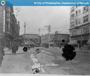 52nd Street, 1914. The Parke Building is on the right. | Image: PhillyHistory.org