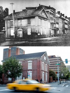 Then and now: Free Quaker Meeting House when it was an the Apprentices' Library Company, long before the building was moved about twenty feet west in the 1960s. Image from Notes on the Free Quaker Meeting House, Fifth and Arch Streets, Philadelphia, Built 1783-84 (1966), by Charles E. Peterson (top); bottom photo, 2013, by Theresa Stigale