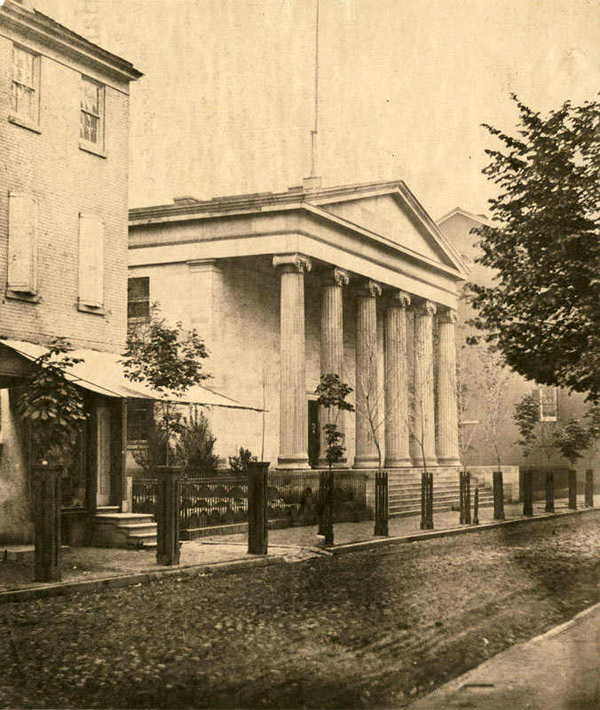 """United States Mint, Northwest corner of Chestnut and Juniper Sts. Photograph by James E. McClees, 1855. (PhillyHistory.org/The Library Company of Philadelphia.)"""