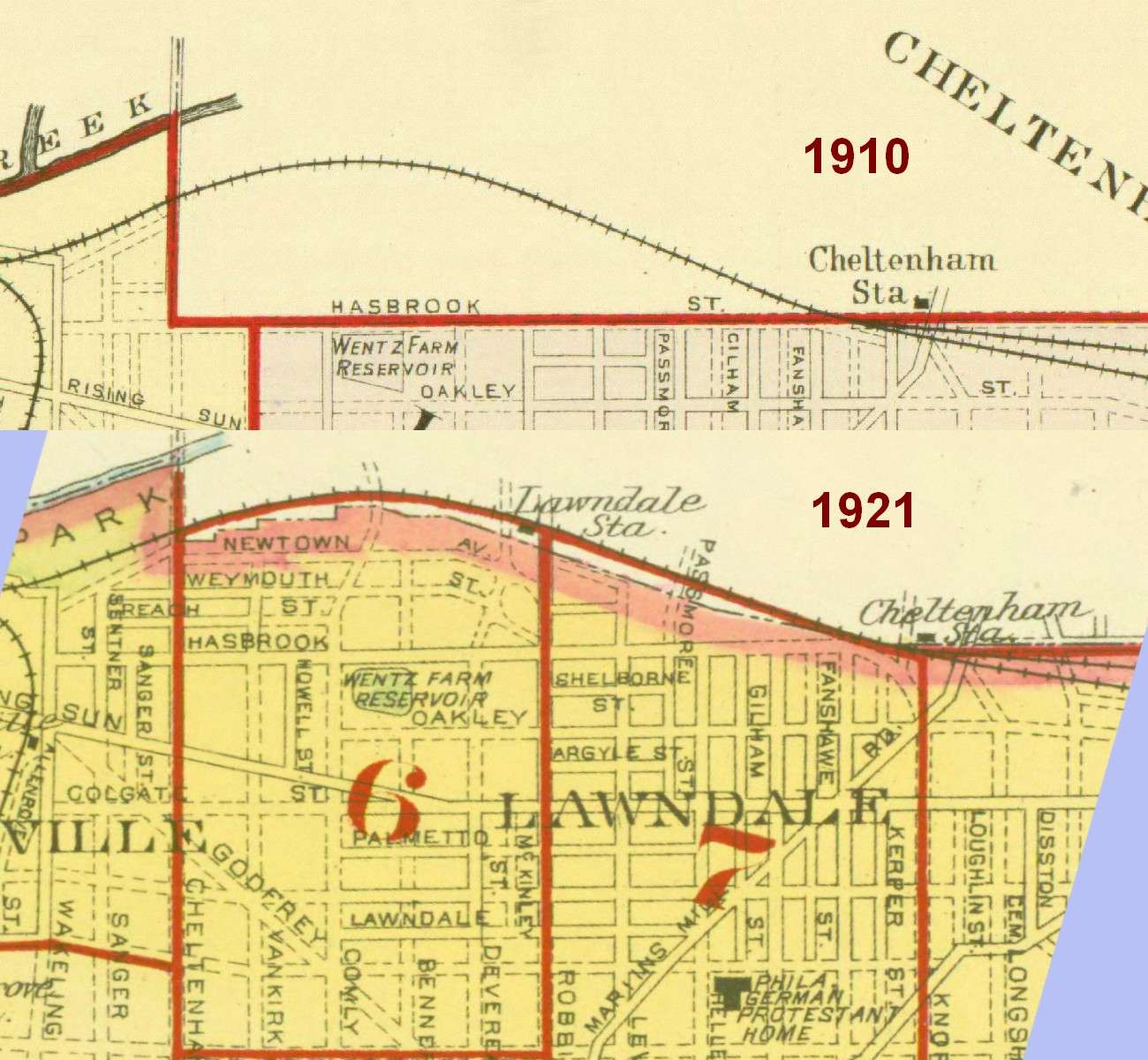 Details of 1910 Smith Map & 1921 Bromley Map