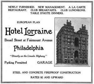 "An ad for the Lorraine Hotel from the 1920 issue of the Official Hotel Red Book and Directory. ""Directly on the Lincoln Highway."""