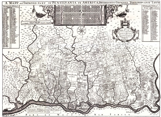 "Later printing of Thomas Holme's 1687 Map of ""The Improved Parts of Pennsilvania,"" John Harris printing, London, 1697"