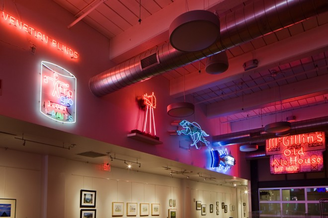 Davidson's neon display at the Center for Architecture | Photo: Peter Woodall