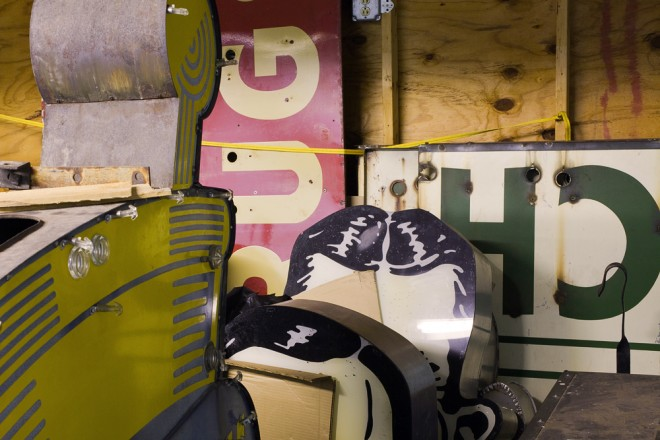 Some of Davidson's neon in storage | Photo: Peter Woodall