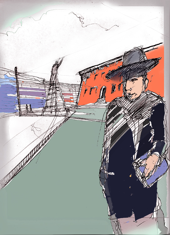 Eruv checker maintains integrity of border with clear fishing line | Illustration: Joseph G. Brin c 2013