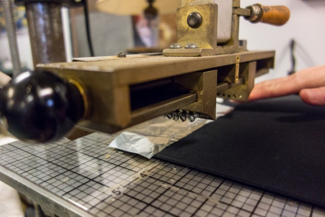 Hot stamping machine for embossing   Photo: Theresa Stigale