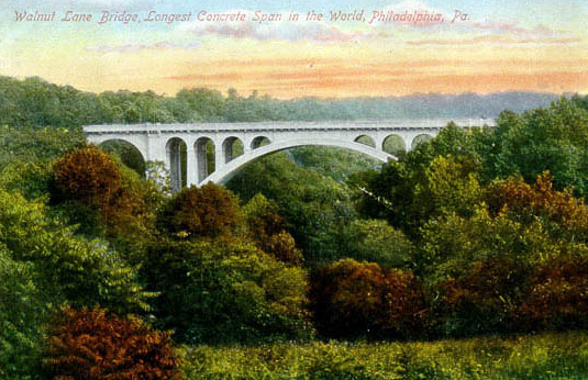 """Walnut Lane Bridge, Longest Concrete Span in the World, Philadelphia, Pa."" (1909) Courtesy of usgwarchives.net"