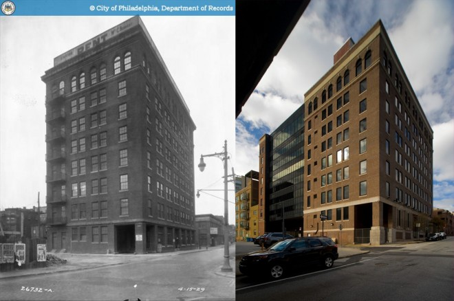 "Then and now: LEFT, Maule Building with big ""RENT"" sign, 1929, via PhillyHistory.org; RIGHT, the same view in 2013, photo by Bradley Maule"