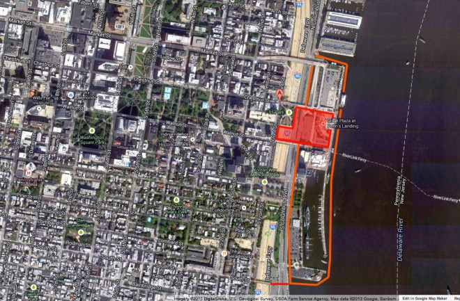 The red areas present two additions as part of the new Penn's Landing -- the upper a cap over I-95 and Columbus Blvd, the lower a new pedestrian bridge at South Street; the orange lines indicate the focus area | (Google Maps)