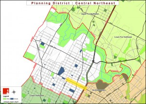 The Planning Commission's Northeast District; Cottman Ave corridor highlighted in yellow | Image: Phila2035.org