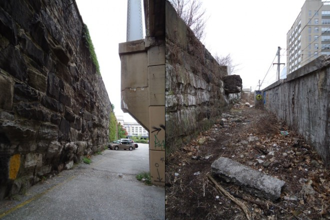 LEFT: Stone wall that held up the old Filbert Street viaduct AKA the Chinese Wall; RIGHT: Old Filbert Street viaduct wall to the left and Suburban Station approach behind wall to the right | Photos: Shadowbat